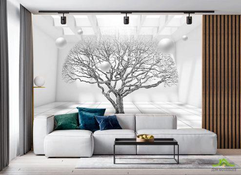 в гостиную Фотообои 3д дерево