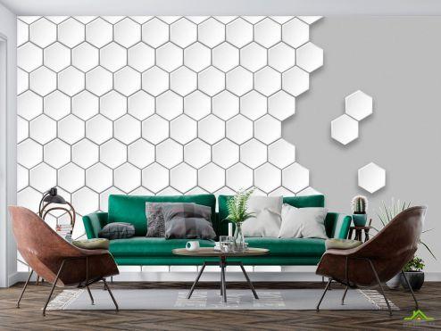 Белые  Фотообои Пчелиные соты