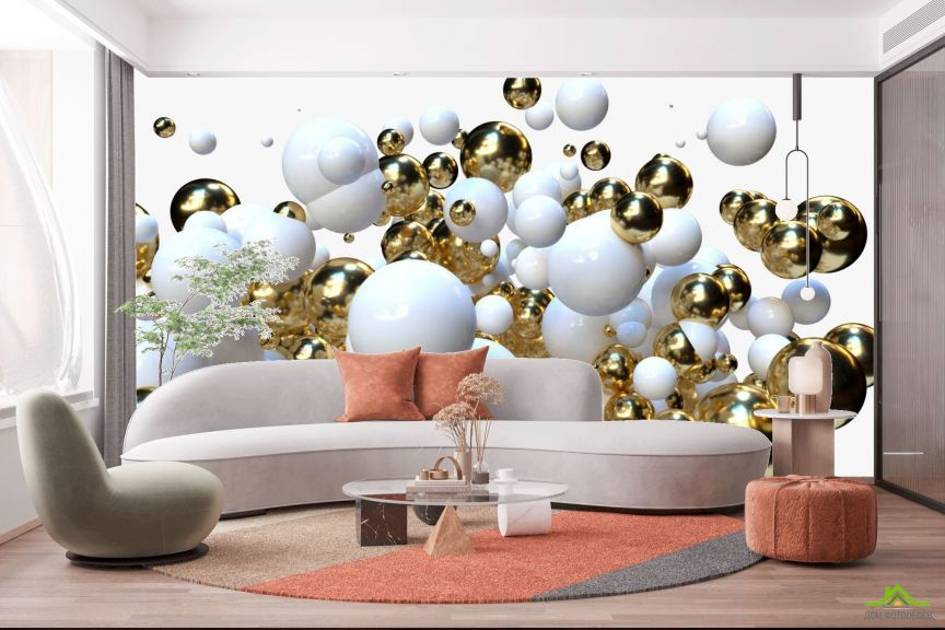 Фотообои Бело-золотые 3д шары