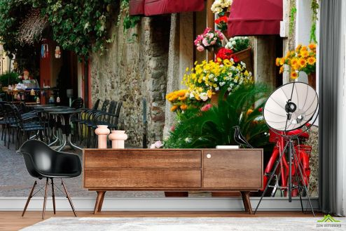 Улицы Фотообои Кафе на улочке с цветами