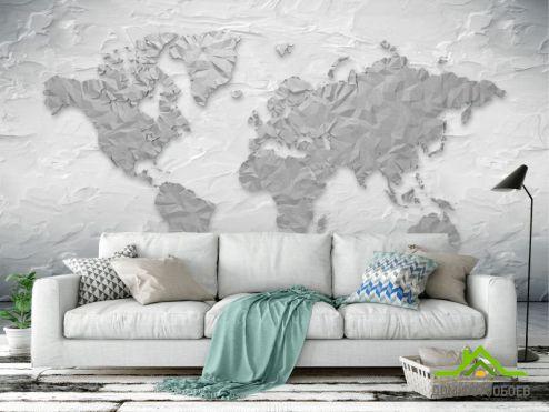 обои Карта Фотообои Серая карта 3Д
