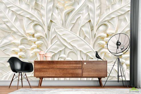 3Д барельеф Фотообои Гипсовые листья