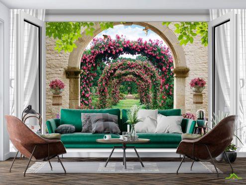 в стиле прованс Фотообои  Вид из окна на сад с розами купить
