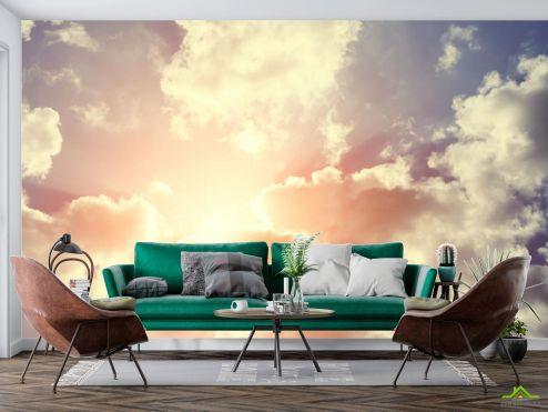 Фотообои Природа по выгодной цене Фотообои сине-оранжевое небо с облаками