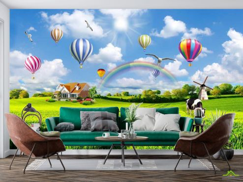 Природа Фотообои Воздушные шары над полем