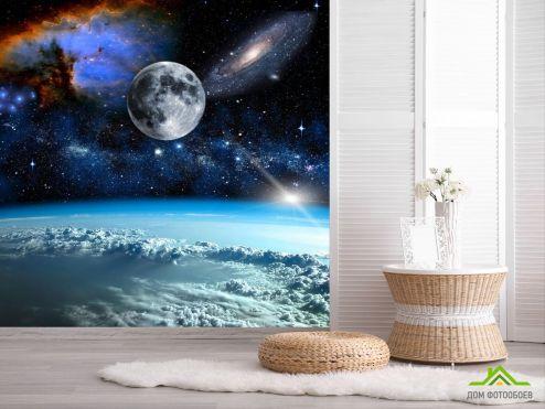 обои Космос Фотообои космос и луна над олаками