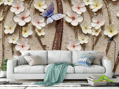 3Д  Фотообои Керамические цветы с бабочкой