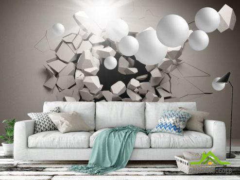 3Д обои Фотообои 3д стена с шарами