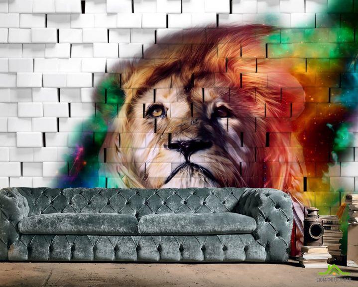 Фотообои 3д лев на фоне кирпичной стены