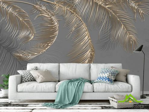перья Фотообои Золотые перья