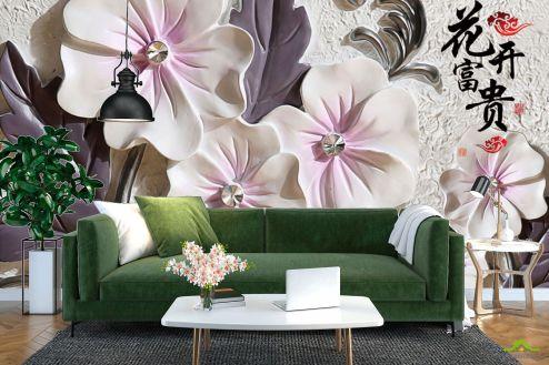 3Д  Фотообои Барельефные керамические цветы купить
