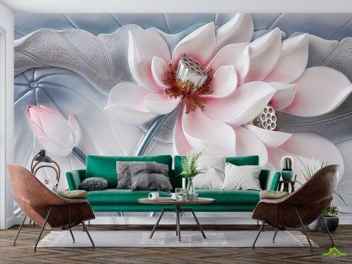 3Д  Фотообои Красивый керамический цветок купить