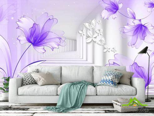 Фотообои разные по выгодной цене Фотообои цветы на фоне туннеля