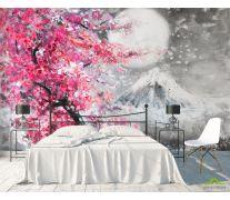 Фотообои картина белая луна над розовым деревом