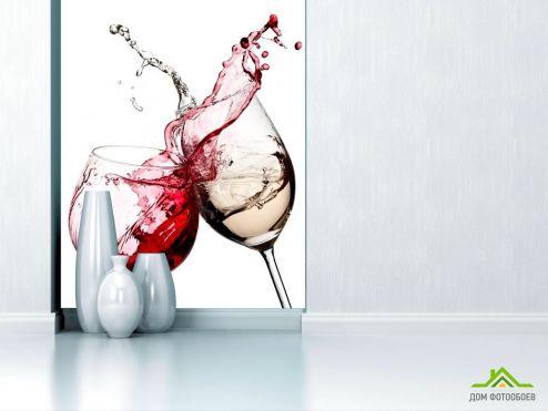 обои Еда и напитки Фотообои красное и белое вино
