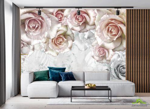 в гостиную Фотообои Объёмные розы
