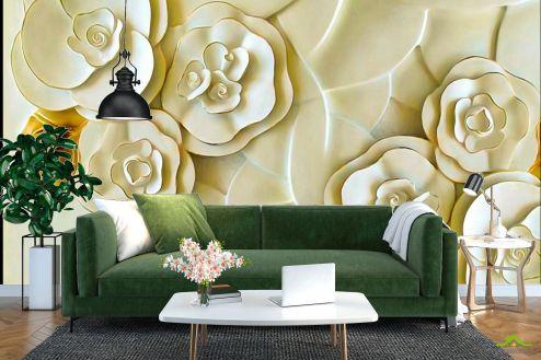 3Д барельеф Фотообои Керамические цветы цвета слоновой кости