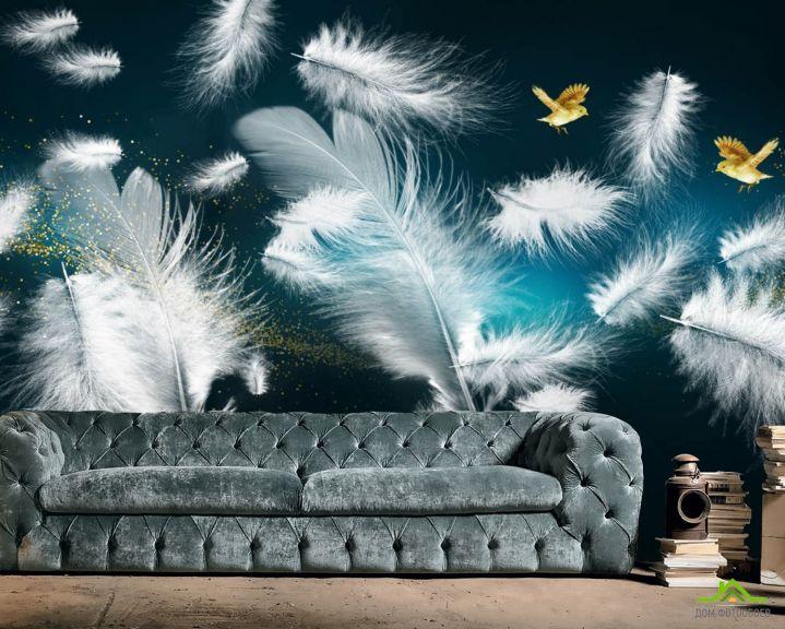 Фотообои Белые перья и золото