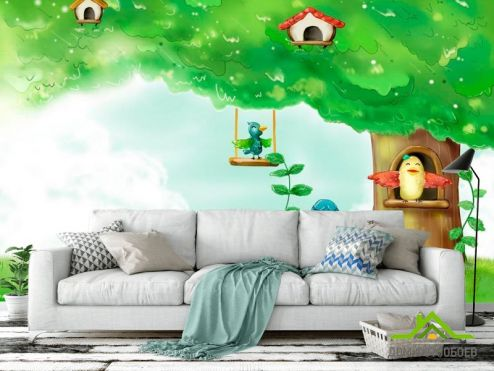 обои Иллюстрации Фотообои Дерево-домик