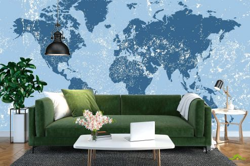 Фотообои карта Мира по выгодной цене Фотообои Синяя карта мира