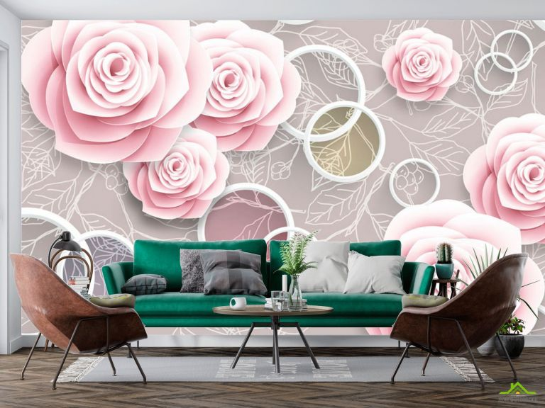 Фотообои Розовые 3Д розочки