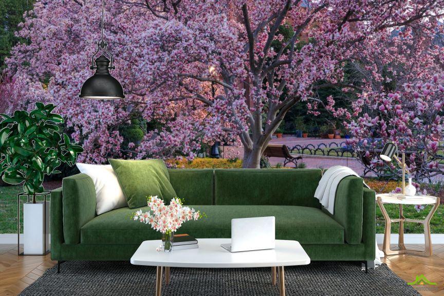 Фотообои пушистое розовое дерево