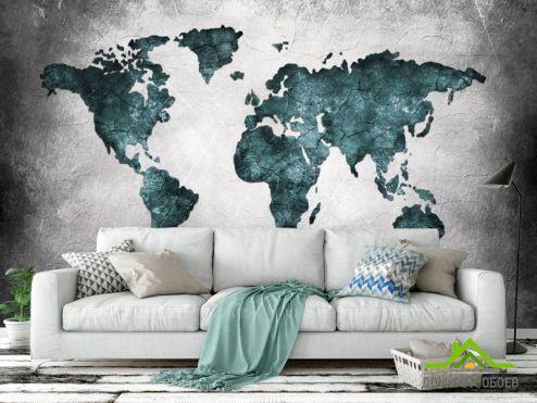 Фотообои карта Мира по выгодной цене Фотообои Материки на бетоне