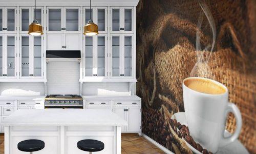 Фотообои в интерьере кухни с фото - Фотообои Кофе