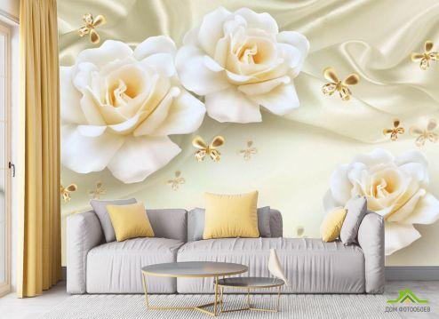 в гостиную Фотообои 3д розы жёлтые