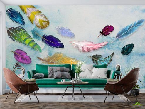 Фотообои перья по выгодной цене Фотообои Разноцветные воздушные перья