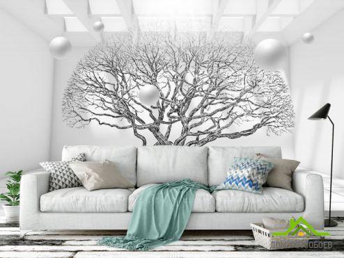 Черно-белые обои Фотообои дерево 3д