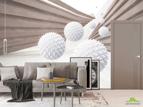 Фотообои в коридор и прихожую по выгодной цене Фотообои Коричневый коридор с шарами