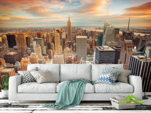 Фотообои Город по выгодной цене Фотообои Нью Йорк в закате