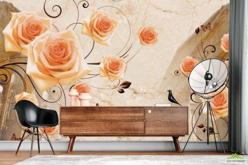 3Д  Фотообои Архитектура и розы 3д