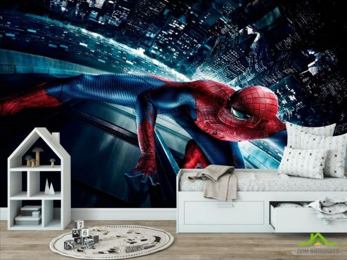 обои в детскую Фотообои Человек паук в городе