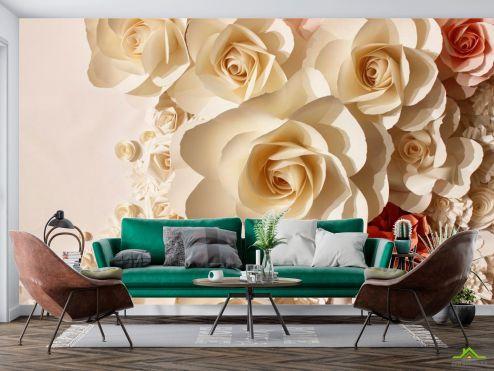 3Д  Фотообои 3D  бумажные розы купить