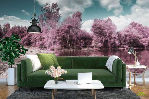 Розовые деревья Фотообои Деревья с отражением
