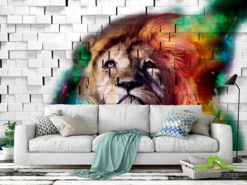 3Д  Фотообои 3д лев на фоне кирпичной стены