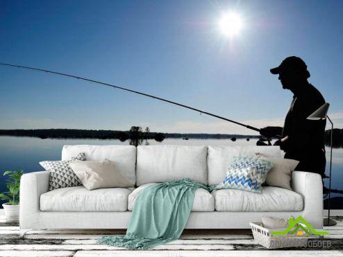 Синие обои Фотообои Рыбалка на реке