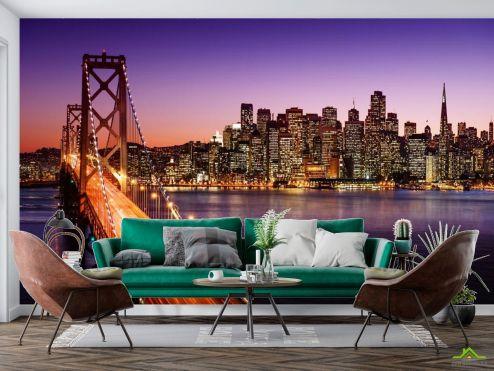 Фиолетовые  Фотообои Огни, мост, многоэтажки