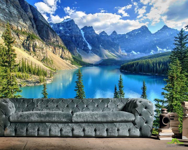 Фотообои голубое горное озеро