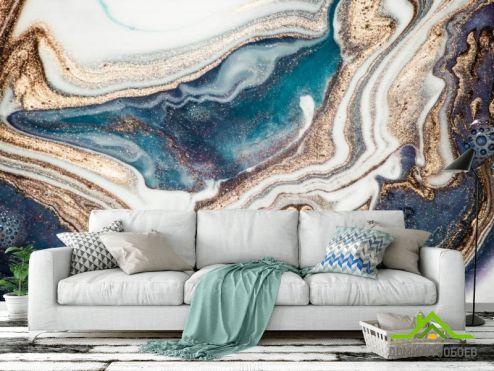 обои Fluid art Фотообои Бирюзовый флюид с золотом