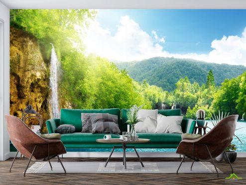 Фотообои Природа по выгодной цене Фотообои водопад в горах