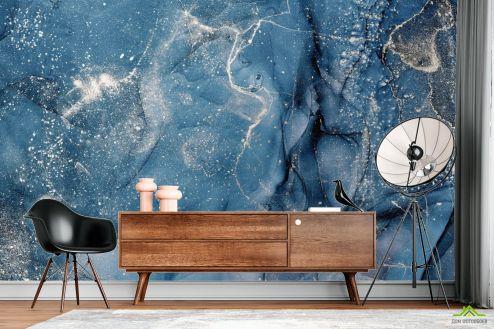 Fluid art Фотообои Синий флюид с серебром