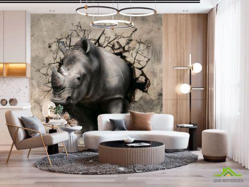 3Д  3д фотообои Носорог