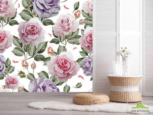 обои Цветы Фотообои Паттерн из роз
