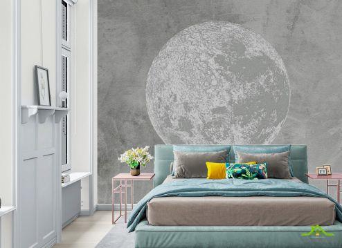 Фотообои в спальню по выгодной цене Фотообои Серая луна минимализм