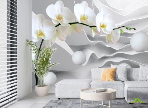 Белые  Фотообои Орхидея 3д