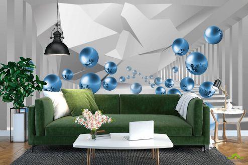 3Д  Фотообои синие шары в воздухе перспектива