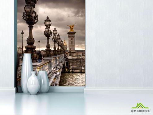 Серые обои Фотообои Фонари на мосту